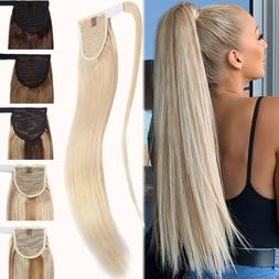 16-24inch Thick Ponytail Clip In 100% Real Remy Human Hair E