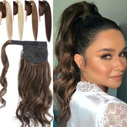 16-24inch Thick Wavy Ponytail Clip In Human Hair Extensions
