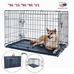 "24""30""36""42""48"" Dog Crate Kennel Folding Metal Pet Cage 2 Do"