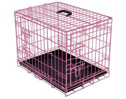 "24-36"" Double Door Pet Dog Cat Crate Kennel Cage Bed pan Fol"