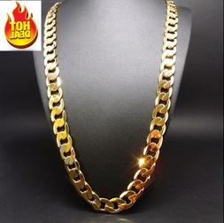 24 Inch 14K Gold Chain Cuban Necklace Men 9MM Link w/ Real S