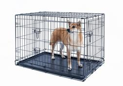 24 inch dog crate folding Portable metal pet cage 2 door wit