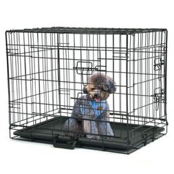 "24"" INCH Dog Crate Kennel Folding Metal Pet Cage 2 Door Divi"