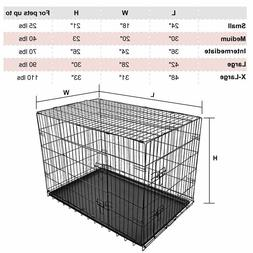 24 Inch Folding Portable Dog Crate Pet Cage Kennel Pen 2-Doo