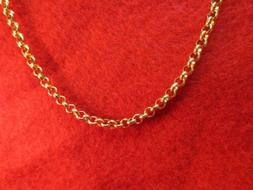 24 INCH GOLD STAINLESS STEEL 4MM ROLO  LINK ROPE CHAIN NECKL