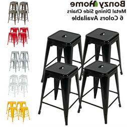 24 Inch Metal Bar Stools Set of 4 Patio Industrial Stackable