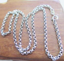 24 inch Pure 925 Sterling Silver Necklace 3mm Rolo Link Chai