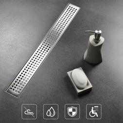 24 inch Square Hole Pattern Bathroom Linear Shower Drain 304