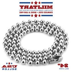 24 Inch Stainless Steel Ball Chain 2.4 mm Military Spec for
