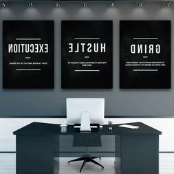 3 Piece Grind Hustle Execution Wall Art Canvas Prints Office