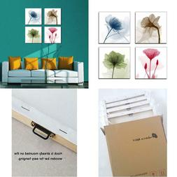 4 Panel Canvas Print Flickering Flowers Modern Canvas Wall A