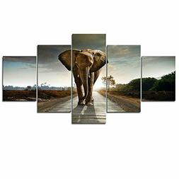 Wieco Art 5 Panels Elephant Pictures Paintings on Canvas Pri
