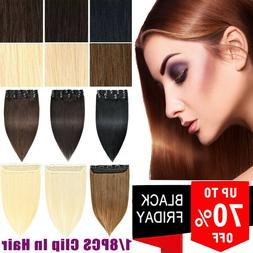 8-24Inch Clip in Human Hair Extensions Real Remy Best Color