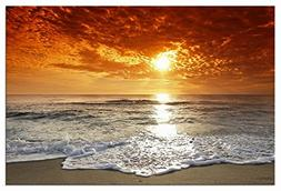 Wieco Art The Sea Canvas Prints Wall Art Sunset Ocean Beach