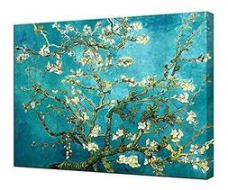 Wieco Art Almond Blossom Modern Framed Floral Giclee Canvas