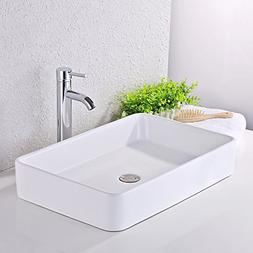 KES Bathroom Sink, Vessel Sink 24 Inch Porcelain Rectangular