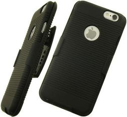 BLACK RUBBERIZED HARD CASE + BELT CLIP HOLSTER w/ STAND FOR