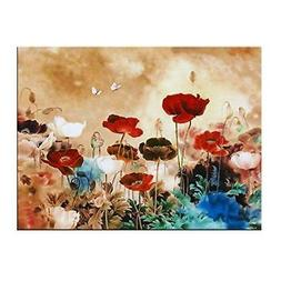 Wieco Art Blooming Poppies Large Colorful Flowers Pictures P