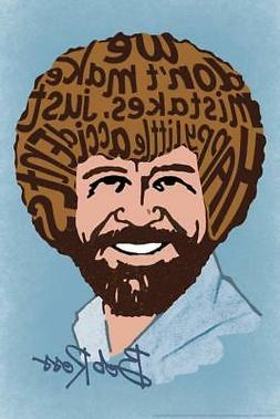 Bob Ross Happy Little Accidents Word Art Print Poster 24x36