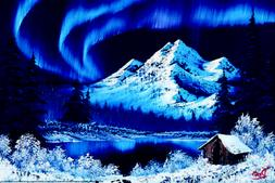Bob Ross Northern Lights Art Print Painting Poster 36x24 inc