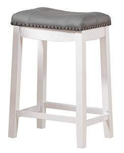 "Angel Line Cambridge 24"" Padded Saddle Stool, White with Gra"