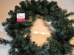 """24"""" Canadian Pine artificial green wreath on wire frame"""