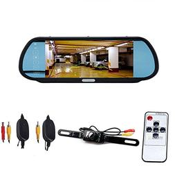 "CISNO 7"" LCD Car Rear View Mirror 16:9 Monitor+Wireless Back"
