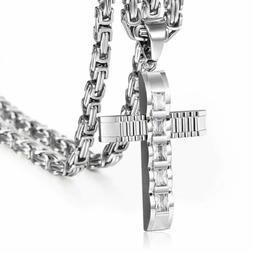 Clear CZ Cross Necklace Pendant Stainless Steel Silver Byzan