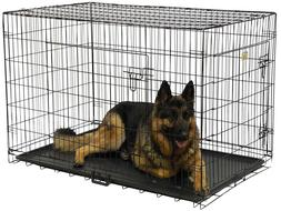 Crate Dog Folding Double Door Metal Cage Kennel Inch Divider