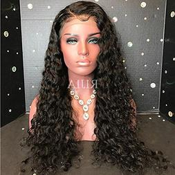 RIJIA Curly Lace Front Human Hair Wigs 130% Density Brazilia
