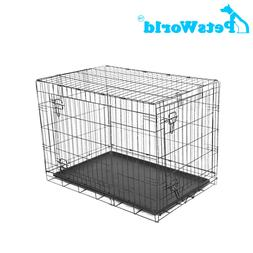 PETSWORLD Dog Crate, 24-inch Double Door, Folding Metal Pet
