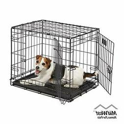 Dog Crate iCrate Single 24-Inch w/ Divider Double Door Foldi
