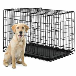 Dog Crate Kennel Folding Metal Pet Cage 2 Door Divider Tray