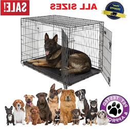 Dog Kennel Crate Cat Pet Folding Metal Cage 2 Doors Tray XXL