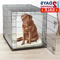 "Dog Pet Crate Kennel Cage Heavy Duty Folding Metal 42"" Large"