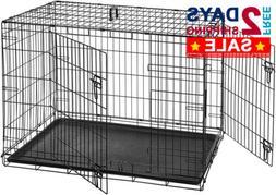 Double Door Dog Pet Crate Kennel Cage Heavy Folding Metal Sm