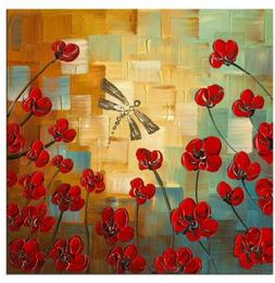 Wieco Art Dragonfly Floral Oil Paintings on Canvas Wall 24x2