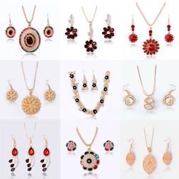 Fashion Woman Wedding Jewelry Sets 18K Gold Plated Crystal N