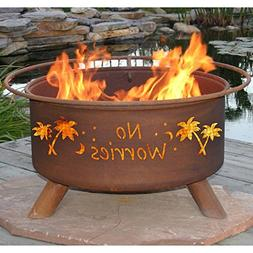 Patina ''No Worries'' 31 Inch Fire Pit with Grill and FREE C