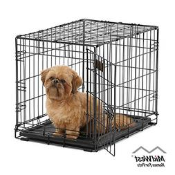 Folding Metal Dog Crates 24 Inch With Divider Single Door 24