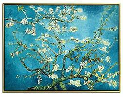 Wieco Art Framed Art Giclee Canvas Prints of Almond Blossom