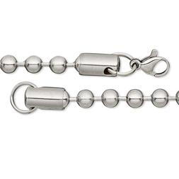 Genuine 304 Stainless Steel Polished Dog Tag Ball Chain Neck