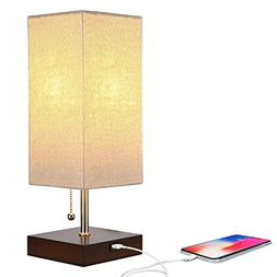 Brightech Grace LED USB Bedside Table & Desk Lamp – Modern
