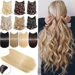 "Hair Extensions 24"" 125G Invisible Wire No Clips in Full Hea"
