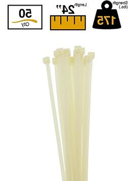 "BuyCableTies 24"" Heavy Duty Indoor Cable Ties - 175 lb Rated"