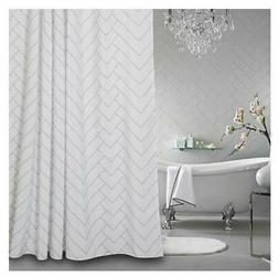 Hotel Quality White Striped Mold Resistant Fabric Shower Cur