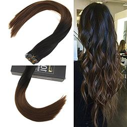 "Sunny 24"" 100% Human Hair Extensions Tape In Ombre Natural B"