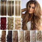 100% Thick Clip In Hair Extensions Long 3/4 Full Head Hair E