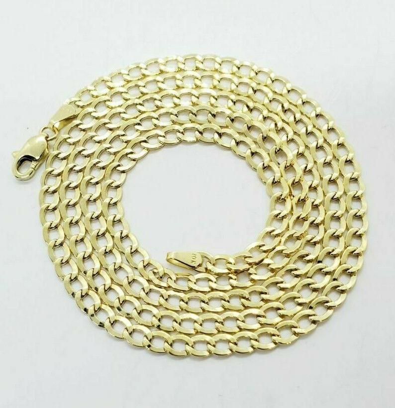 """10K Solid Yellow Gold Cuban Necklace 2.5MM 16"""" 18"""" 20"""" 24"""""""
