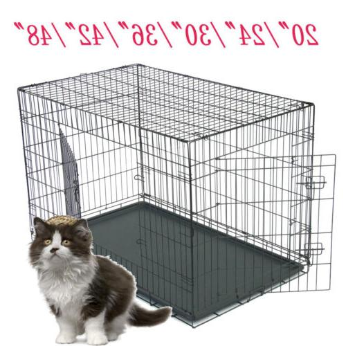 """20""""24"""" 36""""48"""" Dog Crate Kennel Folding Pet Cage 2 Door Outdo"""